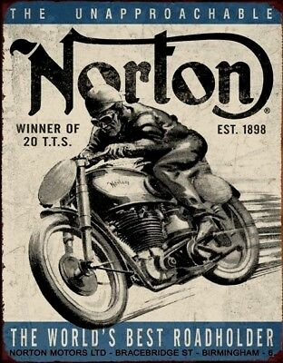 NORTON Motorcycle Bike Picture Poster Metal Tin Vtg Ad Sign British UK Garage
