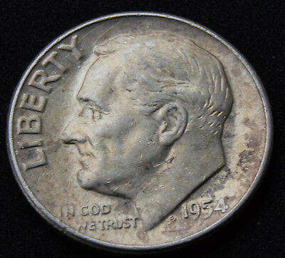 1954 USA UNITED STATES OF AMERICA Roosevelt Silver Dime COIN