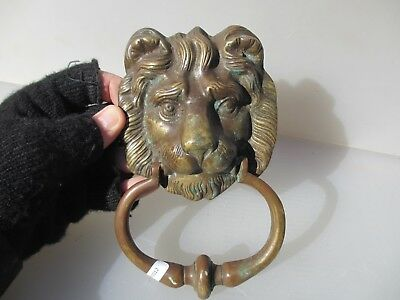 Vintage Brass Door Knocker Lion Head Architectural Antique Old Lions
