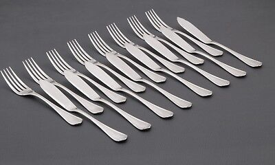 French Silverplate  Christofle Spatours pattern  Fish set  8 place settings 16 p