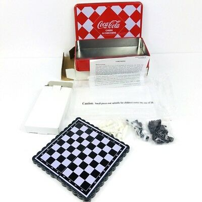 Coca-Cola Coke Chess & Checkers Magnetic Travel Game Set Tin Storage Box New