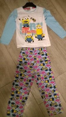 White blue Despicable Me Minions nightwear pyjamas sleepwear NEW  Girls Age 4 6