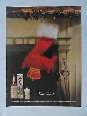 1991 Print Ad Seagram's Gin ~ Christmas 7 Stocking Hint Hint