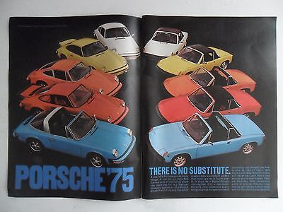 1974 Print Ad Porsche Sports Car Automobile ~ There is no Substitute 1975 MODELS