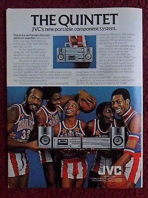 1981 Print Ad JVC Quintet Portable Stereo BOOM BOX ~ Harlem Globetrotters