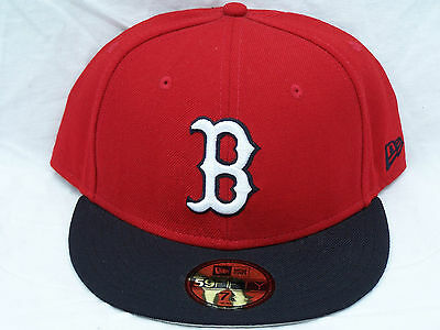 NEW ERA BOSTON RED SOX 2-TONE 59FIFTY FITTED CAP 7-5/8 60.6cm EMBROIDERED HAT