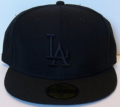 NEW ERA LOS ANGELES DODGERS CAP BLACK on BLACK SIZE 7 - 55.8cm 59FIFTY LA MLB