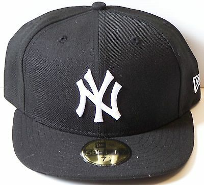 NEW ERA NEW YORK YANKEES CAP 6-7/8 54.9cm 59FIFTY NY HAT WHITE LOGO BLACK FITTED