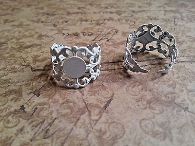 Ring Blanks Blank Rings Filigree Rings Adjustable Rings Vintage Style Rings 5/10