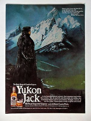 1980 Print Ad Yukon Jack Blended Canadian Whisky ~ Snowy Mountains Fur Coat ART