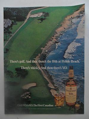1976 Print Ad Seagram's V.O. Whiskey ~ 18th Hole Pebble Beach Golf Course
