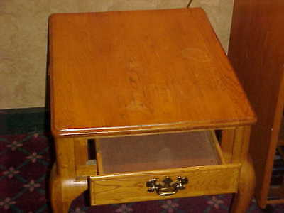 Vintage Solid Light Oak Side Table With Draw 25 Inches Deep X 20 Inches Wide.