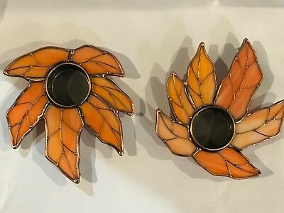 STAINED GLASS 2- Piece Autum Leaf Standing Candle Holders  [9042-J]