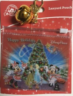 Disney Parks EXCLUSIVE HAPPY HOLIDAYS LANYARD POUCH PIN ID PASS HOLDER NOC NEW