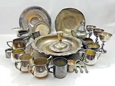 27 Piece Vtg Silverplated Serving Tray Bowl Dish Cream Sugar Cup Job Craft Lot