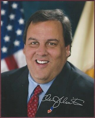 """Chris Christie, Presidential Candidate, Signed 8"""" x 10"""" Photo, Autopen Signature"""