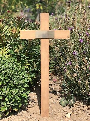 """Wooden Memorial Cross Grave Marker 17"""" Free Plaque & Free Engraving cemetry urn"""