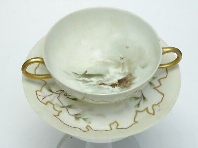 Jpl Jean Pouyat Limoges France Gilded Painted Egg Shell Bouillon Cup & Saucer *