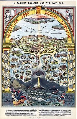 Work for all Salvation Army social campaign 1910 pictorial map POSTER 11148