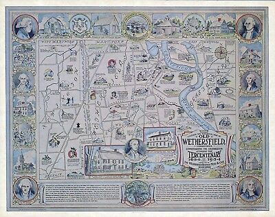 Cultural historical old Wethersfield Connecticut 1934 pictorial map POSTER 11469
