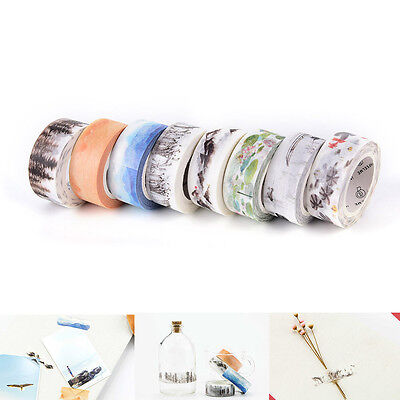Chinese Style 15mm×7M DIY Paper Sticky Adhesive Sticker Decorative Washi Tape Uz