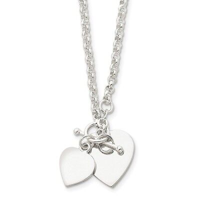 Sterling Silver Engravable 18in Double Heart Toggle Necklace