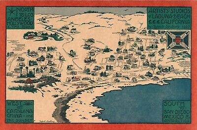 Artist's studios Laguna Beach California 1947 pictorial map POSTER 11272