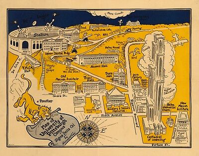 University of Pittsburgh buildings football game 1935 pictorial map POSTER 11354