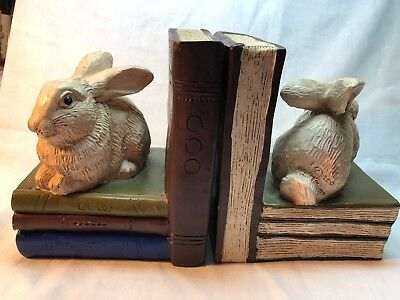 2006 Telle M. Stein Rabbit Bookends - Signed - The Stone Bunny, Inc.