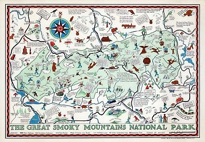 Great Smoky Mountains National Park 1939 Tennessee pictorial map POSTER 11526