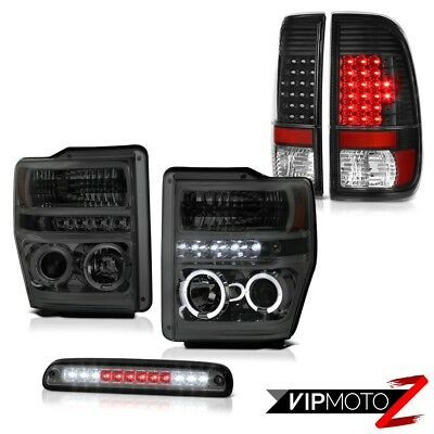 08 09 10 Ford F350 SD Smoke Halo Projector Headlights SMD Tail Lights Black LED