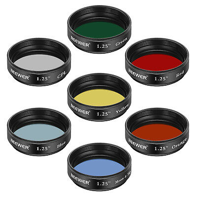 Neewer 1.25 inches Telescope  Moon Filter, CPL Filter, 5 Color Filters Set