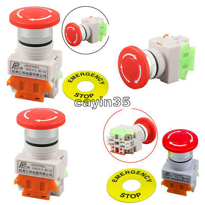 Red Mushroom Cap 1NO 1NC DPST AC 660V&10A Emergency Stop Push Button Switch UK