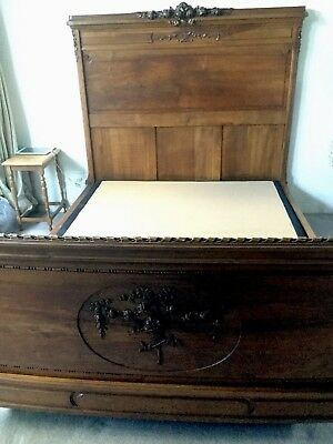 Vintage French Carved Double Bed Head And Base
