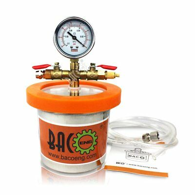 BACOENG Small Mini 1.2 L Stainless Steel Vacuum Chamber Silicone Kit for Resins,