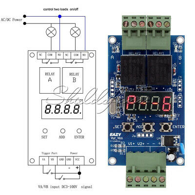 12V Dual Programmable Relay Control Board Cycle Delay Timer Switch Module VLC2.0