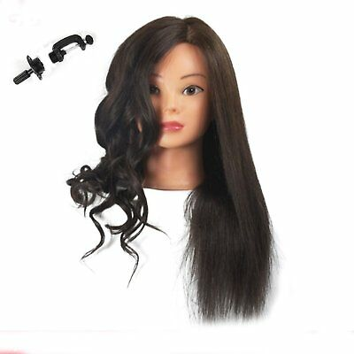 Training Head 100% Real Human Hair Cosmetology Hairdressing Mannequin Manikin