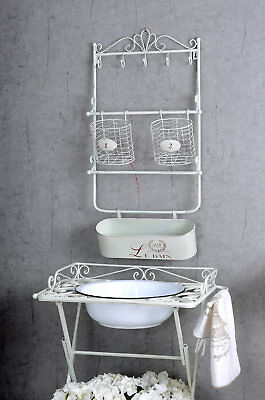 Estante De Metal hierro Tablero pared Cesta Cuarto Baño Archivador Shabby