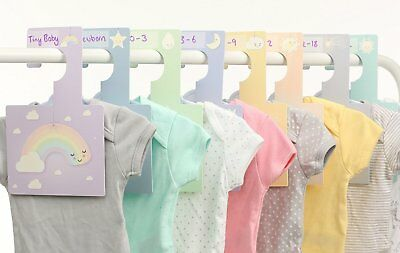Baby Wardrobe Dividers - Sweet Dreams | Pack of 8 Hangers to Organise Clothes