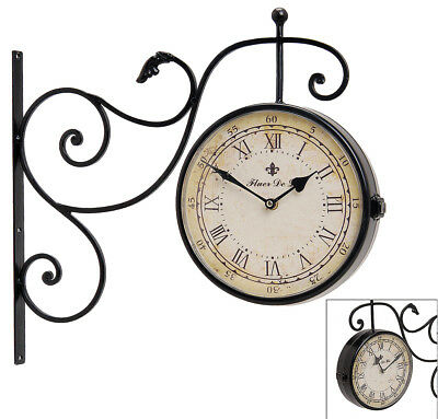 Reloj de pared metal Doble Cara estación Tren Retro Estilo Antiguo Rústico