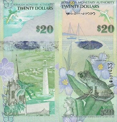"Bermuda,20 Dollar's Banknote,2009,Uncirculated Condition Cat#60-A""Frog"""