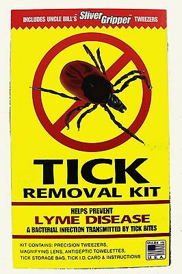 Tick Removal Kit w/ Uncle Bills Sliver Gripper Stainless Tweezers & Instructions