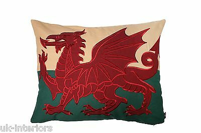 "Large 27""x21"" Welsh Red Dragon Wales Flag Cymru Tapestry Cushion - Double Sided"