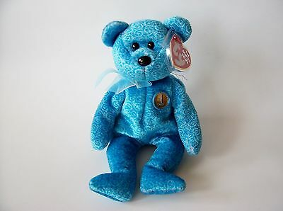 Classy Ty Beanie Baby, New, MWMT, 2001, Blue Bear with #1 Pin