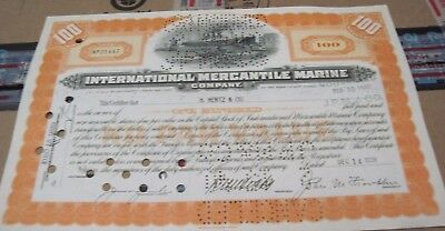 1939 Int'l Mercantile Marine Co. OLD CANCELED STOCK  CERTIFICATE orange