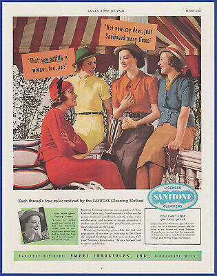 Vintage 1938 Licensed SANITONE Cleaners Laundry Emery Industries Print Ad 1930's