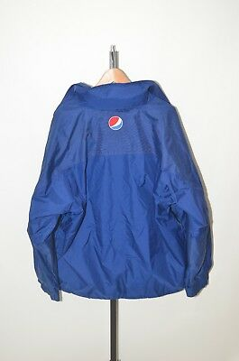 PEPSI COLA Coat Aramark Blue Long Mid-Weight Jacket Hood - Men L Large