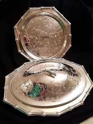Vintage Viners of Sheffield England Silver Plate Covered Serving Dish and Tray