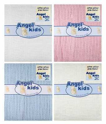 Baby 100% Cotton Cellular Blanket Pram Cot Bed Moses Basket Crib by Angel Kids
