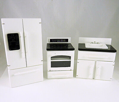 Dollhouse Miniature 3 Piece White/Black Kitchen Appliances Set, T5448